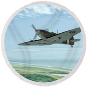 Spitfire On Patrol Round Beach Towel