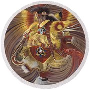 On Sacred Ground Series 4 Round Beach Towel by Ricardo Chavez-Mendez
