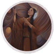On Sacred Ground Series V Round Beach Towel by Ricardo Chavez-Mendez