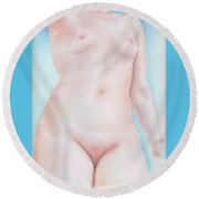 On The Artists Pedestal A Statuesque Female Nude Torso With Open Sky Behind Round Beach Towel
