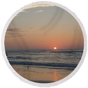 On The Beach At Sunrise - Wildwood New Jersey Round Beach Towel