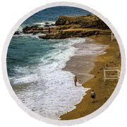 On The Beach - Dubrovnic Round Beach Towel