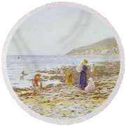 On The Beach Round Beach Towel by Helen Allingham