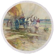 On The Beach  Round Beach Towel by Oswald Garside