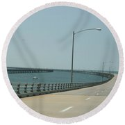 On The Chesapeake Bay Bridge Round Beach Towel