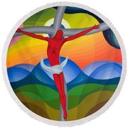 On The Cross Round Beach Towel by Emil Parrag