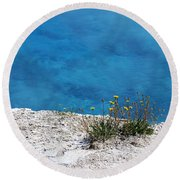 On The Edge Of Blue Round Beach Towel