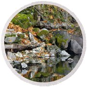On The Edge Of The Lake Round Beach Towel