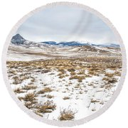 On The Fence Line Round Beach Towel by Fran Riley