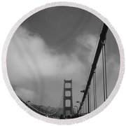 On The Golden Gate Bridge  Round Beach Towel