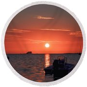 On The Gulf At Sunset Round Beach Towel