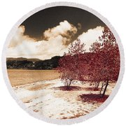On The Lake Shore Round Beach Towel