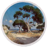 On The Old Blanco Road Southwest Texas Round Beach Towel