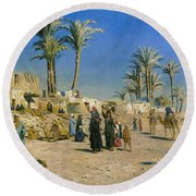 On The Outskirts Of Cairo Round Beach Towel