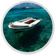 On The Peaceful Waters. Maldives Round Beach Towel