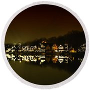On The River At Night -  Boathouse Row Round Beach Towel