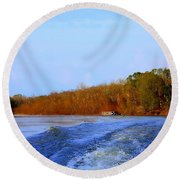 On The Rivers Bend Round Beach Towel