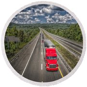 On The Road Again E61 Round Beach Towel
