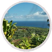 on the road to Hana Round Beach Towel