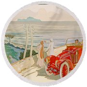 On The Road To Naples Round Beach Towel