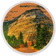 On The Road To Zion Round Beach Towel