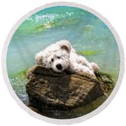 On The Rocks - Teddy Bear Art By William Patrick And Sharon Cummings Round Beach Towel