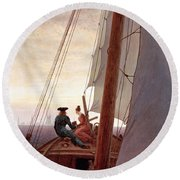 On The Sailing Boat Round Beach Towel
