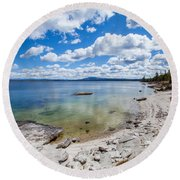 On The Shores Of Yellowstone Lake Round Beach Towel