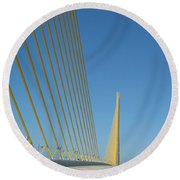 On The Sky Way Brigde  Round Beach Towel