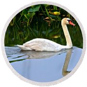 On The Swanny River Round Beach Towel