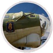 On The Tarmac B-17g Round Beach Towel