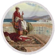 On The Terrace Tangiers Round Beach Towel