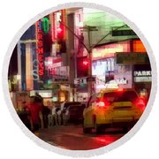 On The Town - Times Square Round Beach Towel
