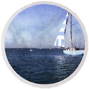On The Water 3 - Venice Round Beach Towel