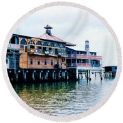 Buildings On The Water  Round Beach Towel