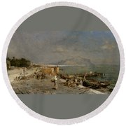 On The Waterfront At Palermo Round Beach Towel by Franz Richard Unterberger