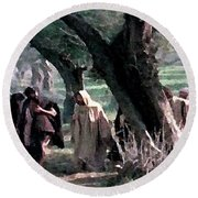 On The Way To Gethsemane Round Beach Towel