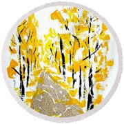 On The Way To School Round Beach Towel