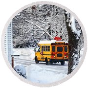 On The Way To School In Winter Round Beach Towel
