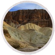 On The Way To Sunday Services Red Cathedral In Death Valley National Park Round Beach Towel