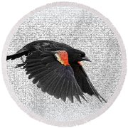 On The Wing - Red-winged Blackbird Round Beach Towel