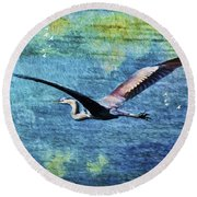 On The Wings Of Blue Round Beach Towel