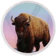 On Thin Ice Round Beach Towel by James W Johnson