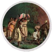 On To Liberty, 1867 Round Beach Towel