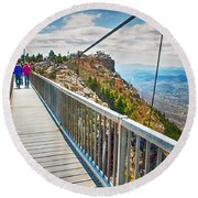 On Top Of Grandfather Mountain Mile High Bridge In Nc Round Beach Towel