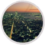 On Top Of The City Round Beach Towel