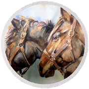Horse In Watercolor On Watch Round Beach Towel