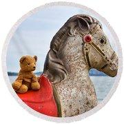 On White Horses Snow White Horses Let Me Ride Away Round Beach Towel