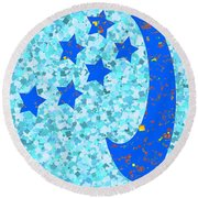 Once In A Blue Moon Also Got 5 Stars Signature Art  Navinjoshi Artist Created Images Textures Patter Round Beach Towel