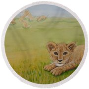 Once There Was A Lion Named Leo Round Beach Towel